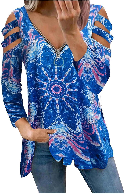 POLLYANNA KEONG Womens Long Sleeve Tops,Womens Casual V Neck Sweatshirts Cold Shoulder Blouse Printed Zip Up Sexy Shirts