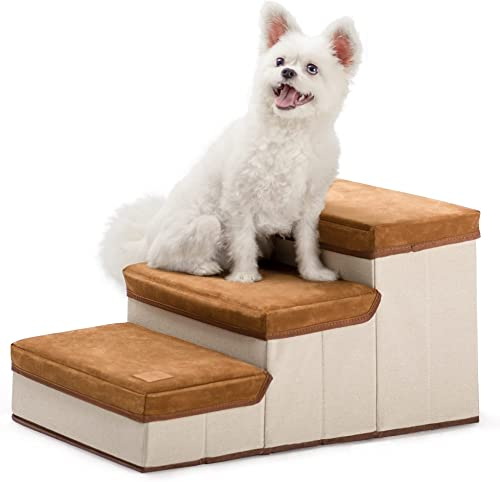 Rolife Foldable Dog Stairs for Small Dogs 3 - Tier Dog Steps for Couch Bed Hold up to 15 lbs Small Medium Dogs