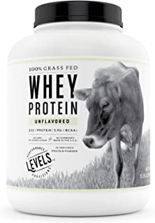 Levels 100% Grass Fed Whey Protein, No GMOs, Unflavored, 5LB
