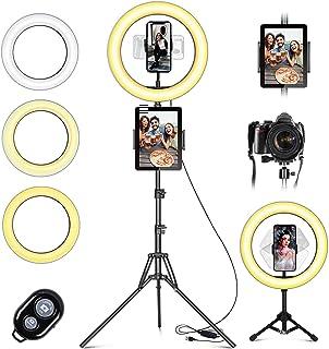 LED-ringljus med stativ mobiltelefon, 10 tum selfie ringlampa med fjärrkontroll och dubbel mobiltelefonhållare med 3 färge...