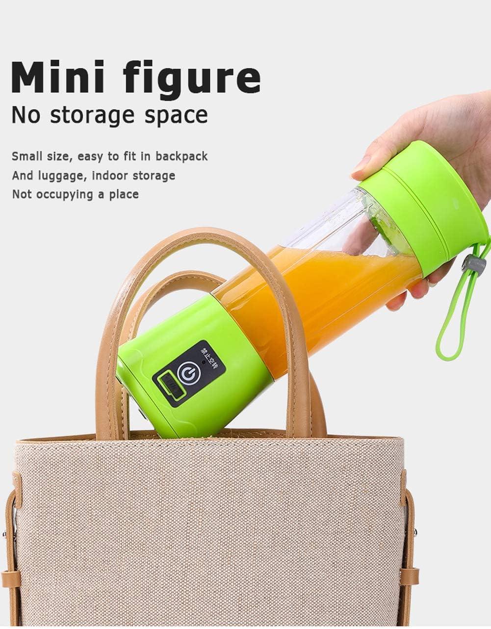 Mezcla portátil, USB 380 ml Personal Mini recargable Blender con antideslizante, 30W, Verde ZHW345 (Color : Purple) Purple