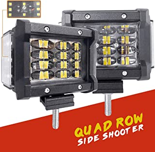 HCTX LED Pods, 2pcs 4 inch 90W Quad Row Light Bar Side Shooter LED Pods Off Road LED Cube Fog Lights Flood Beam Driving Work Lights for Truck Jeep ATV UTV Boat Mortorcycle Tractor, 2 Year Warranty