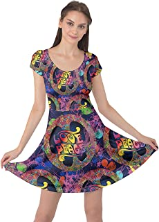 CowCow Womens Colorful Peace Love and Music Pattern Groovy Notebook Doodle Cap Sleeve Dress, XS-5XL