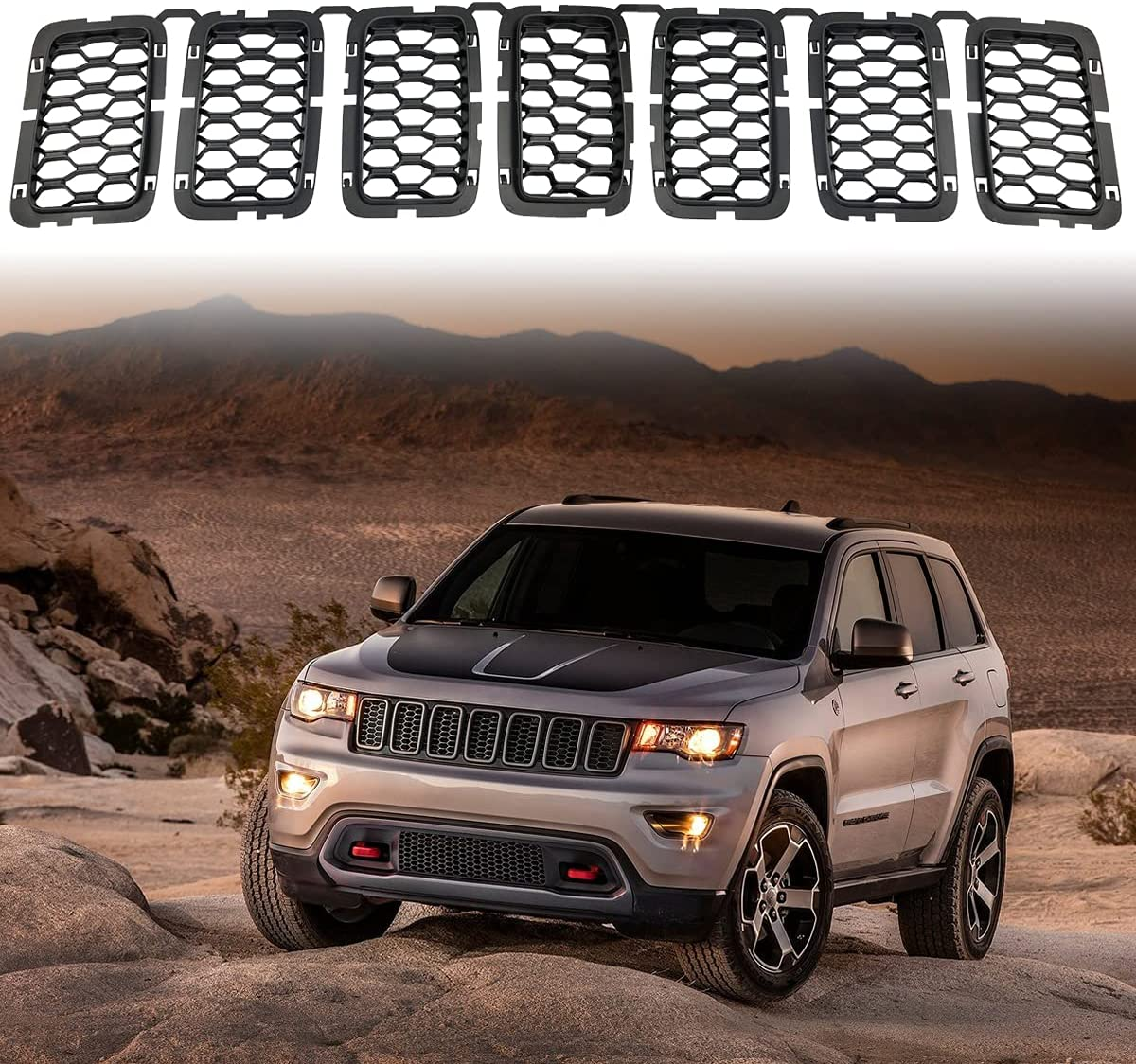 Matte Black Honeycomb Front Grill Max 89% OFF 2017 Fits Inserts Mesh Quality inspection Grille