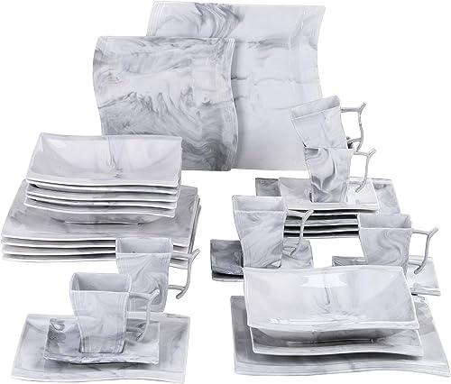MALACASA, Série Flora, 30pcs Service de Table Porcelaine Marbre, 6 Assiettes Plates, 6 Assiettes à Dessert, 6 Assiett...