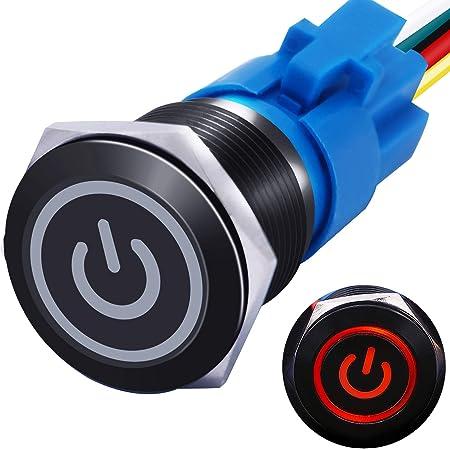 ON Push Button Car//Boat Switch WA 5Pcs 12mm Colorful Locking Latching OFF