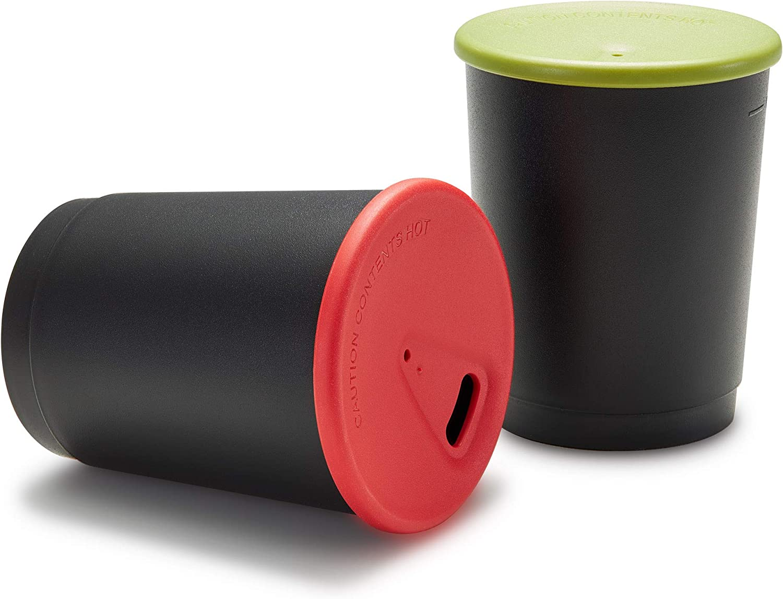 achilles Juego de 4 tazas de café de 330 ml sin BPA, probado por LFGB, taza reutilizable, taza para depósito de bebidas, taza reutilizable apta para lavavajillas en negro, tapa de color
