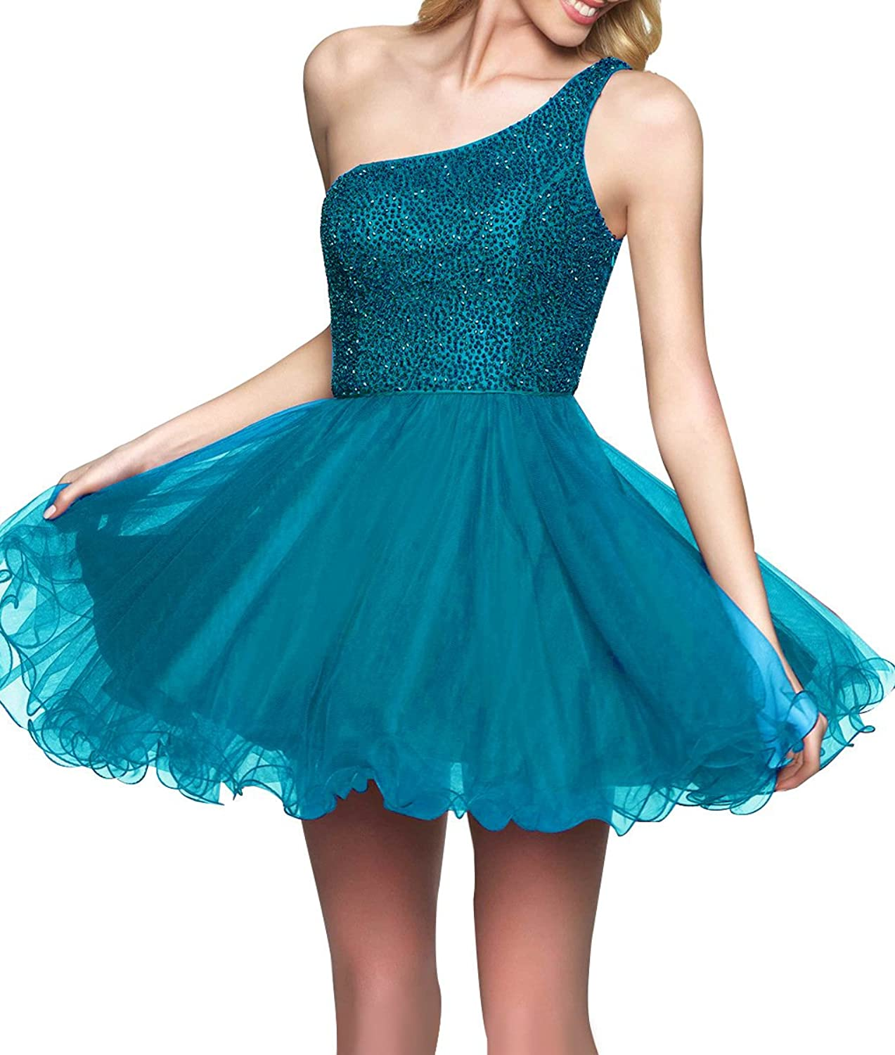 Homecoming Dresses Beaded One Shoulder Tulle Formal Women Evening Prom Cocktail Gown