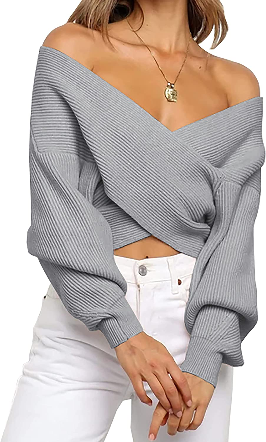 BTFBM Women Casual V Neck Long Sleeve Sweaters Cross Wrap Front Off Shoulder Asymmetric Hem Knitted Crop Solid Pullover