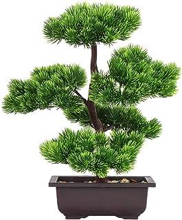 Aisamco Bonsai artificial Decoración de plantas falsas Plantas artificiales en macetas Plantas de bonsai de pino japonés 33 cm de altura para la decoración del hogar Pantalla de escritorio