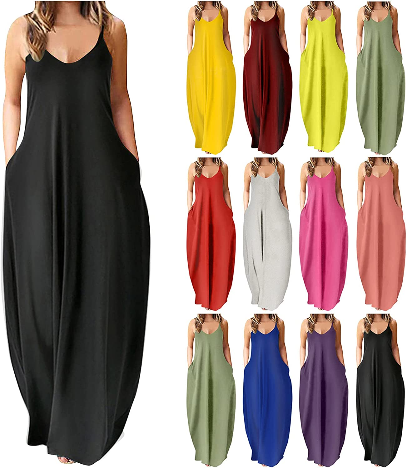 TWGONE Summer Dresses for Women Sleeveless Loose Sling Maxi Dresses Casual Plain Cami Long Dress with Pockets