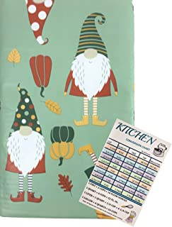 Fall Harvest Gnomes Vinyl Tablecloth Flannel Backed Autumn Foliage Colorful Gnomes and Pumpkins On A Green Background Indo...