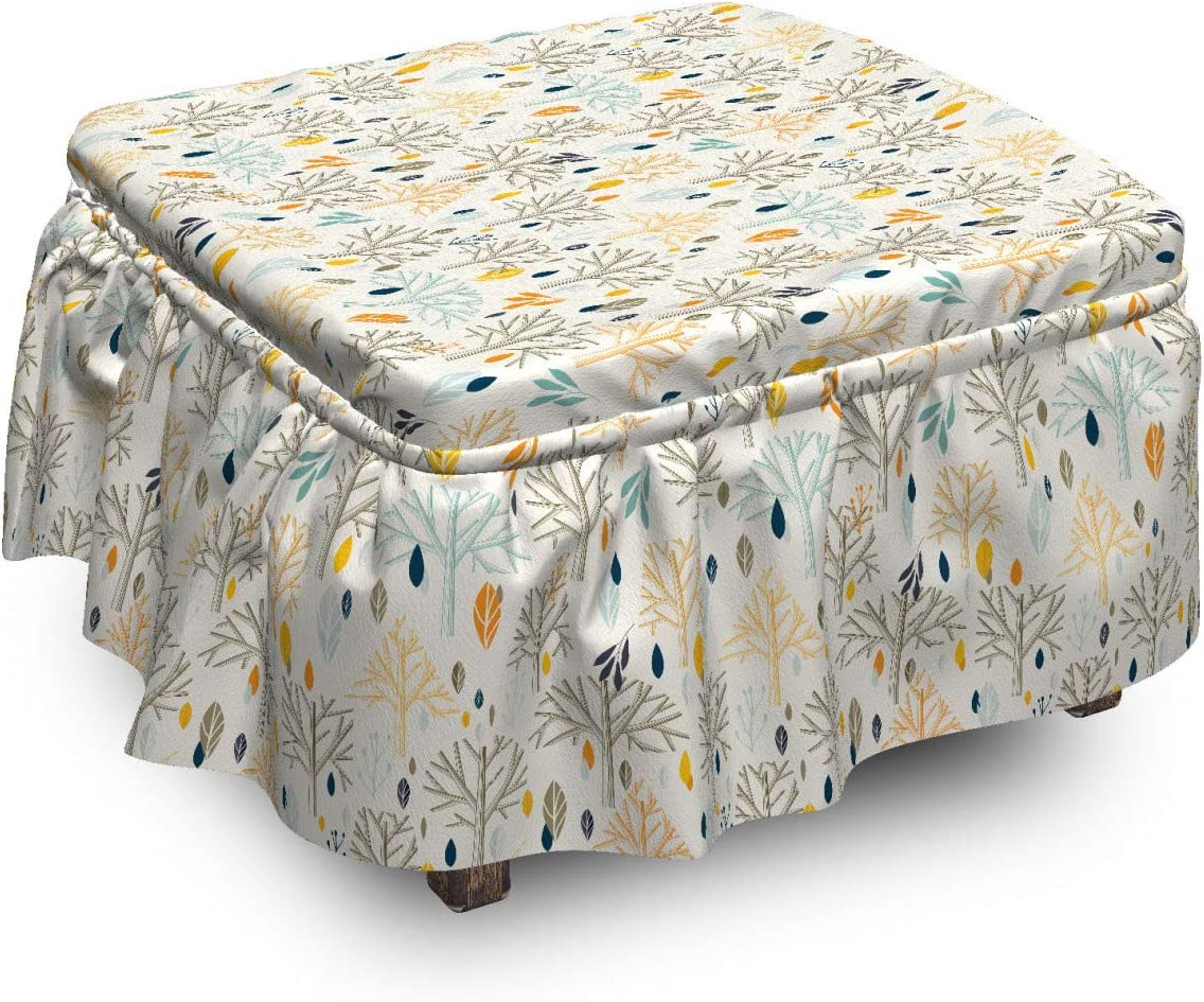Ambesonne Botanical Our shop At the price OFFers the best service Ottoman Cover Abstract 2 Tree Leaves Art P