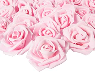 Juvale Rose Flower Heads - 100-Pack Artificial Roses, Perfect Wedding Decorations, Baby Showers, Crafts - Light Pink, 3 x 1.25 x 3 inches
