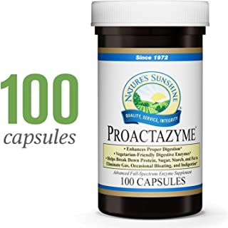 Nature's Sunshine Proactazyme, 100 Capsules | Full Spectrum Digestive Enzymes Supplement to Aid The Digestion of Fat, Protein, and Carbs