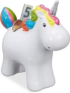 Relaxdays Hucha Unicornio Infantil, Cerámica, Blanco, 16.5 x 16 x 7 cm