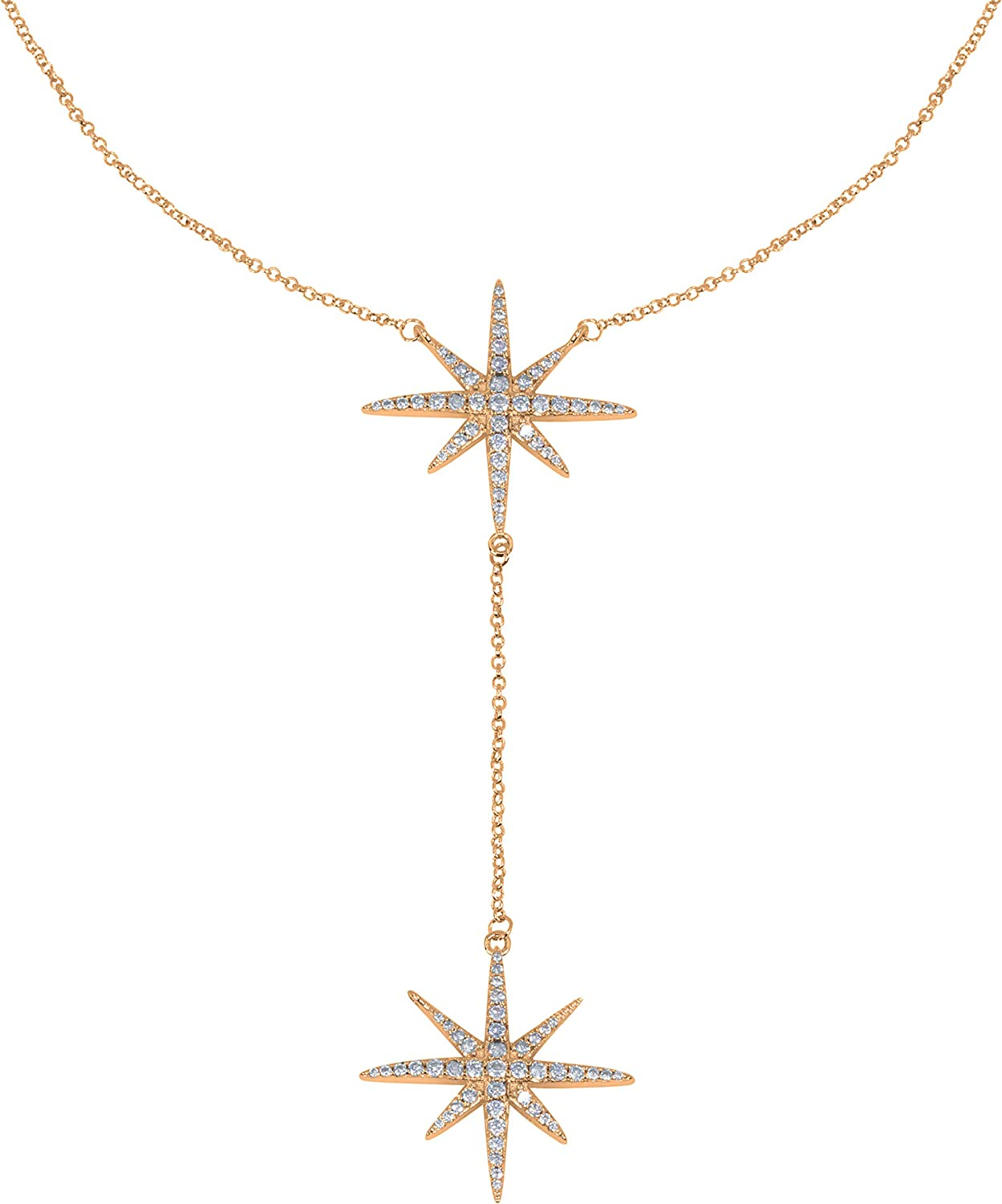 Savlano 14K Gold Plated Cubic Zirconia Round Cut Starburst 18 Inches Pendant Chain Necklace for Women & Girls