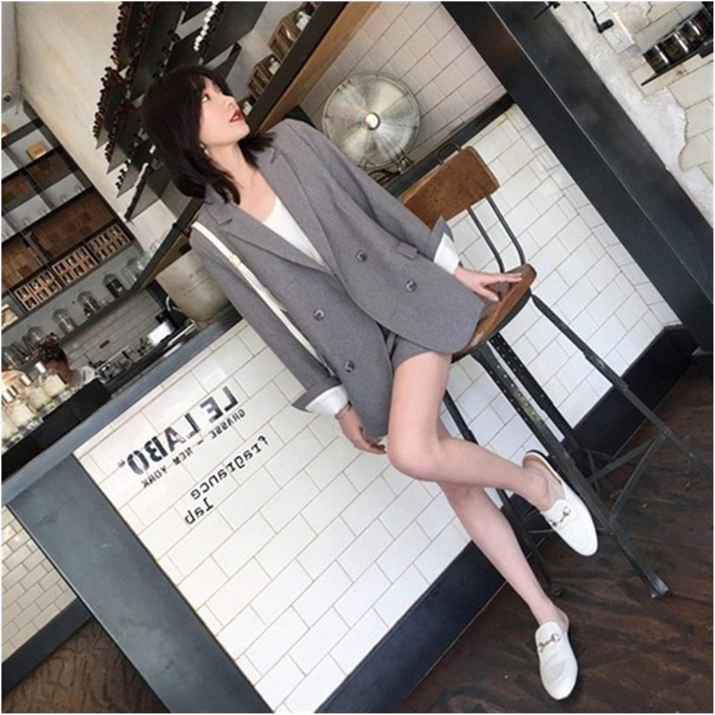 QWERBAM Work Pant Suits 2 Piece Set for Women Blazer Jacket Trouser Office Lady Slim Suit Spring Summer (Color : Navy Blue, Size : Medium)