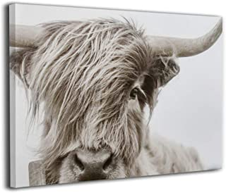 Hd8yehao Highland Cow Canvas Wall Art Prints Photo Contemporary Paintings Home Decoration Giclee Artwork Wood Frame Gallery Wrapped
