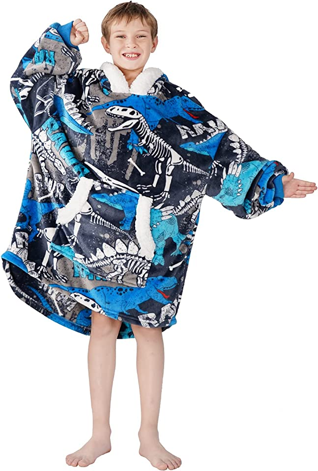 Oversized Blanket Hoodie for Kids Boys Girls, Super Soft Warm Fleece Sweatshirt Blanket Hoody