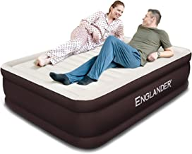 Englander First Ever Microfiber Queen Air Mattress, Luxury Microfiber airbed with Built in Pump, Highest End Blow Up Bed, Inflatable Air Mattresses for Guests Home Travel 5-Year Warranty (Brown)