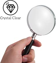 Insten Magnifying Glass 5X Handheld Reading Magnifier - Crystal Clear Glass Lens for Book Newspaper Maps Reading, Classroom Science, Insect & Hobby Observation, Great for Seniors and Kids