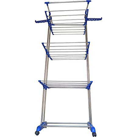 VIMART� Extra Strong Heavy Duty Indian Made Stainless Steel Floor Cloth Dryer Stand (Blue) VIMART Product