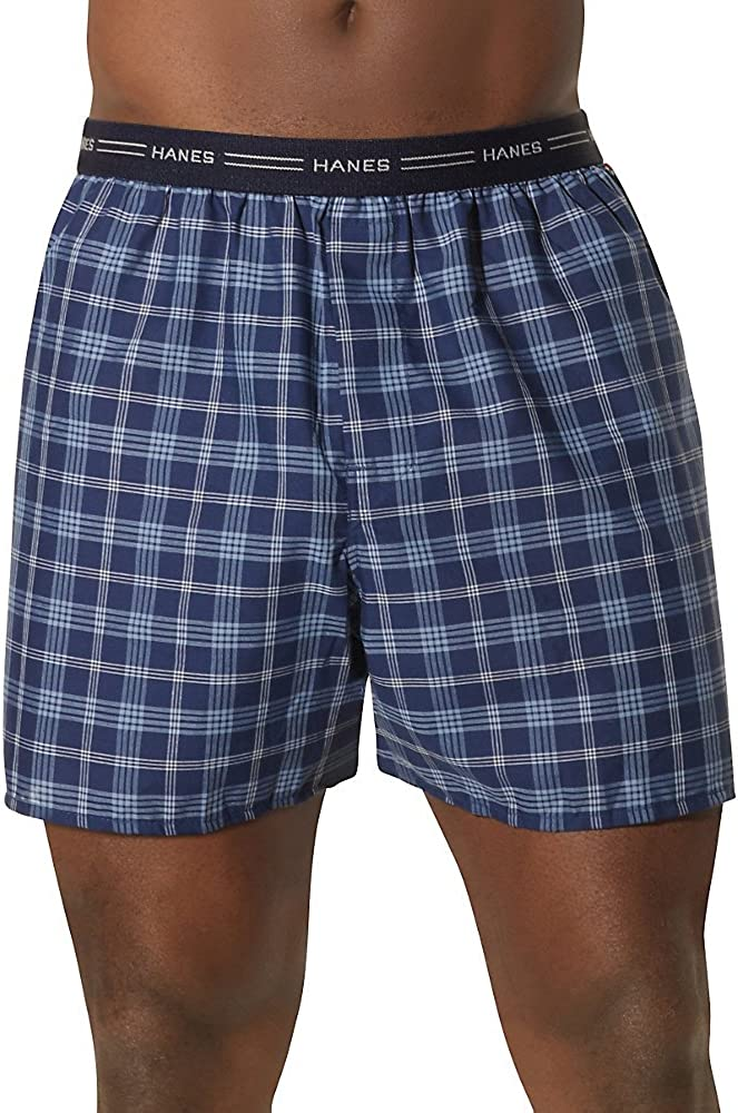 Hanes mens 5-pack Tagless Woven Exposed Waistband Boxers