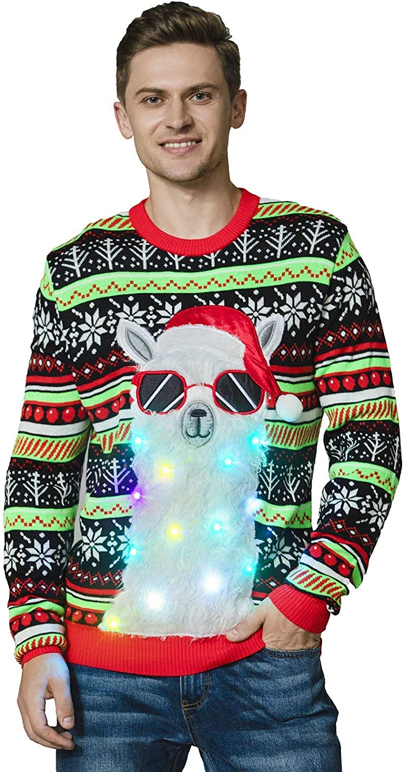 OFF THE RACK Men's LED Light Nov Ugly Sweater Max 62% OFF Funny Christmas Deluxe Up