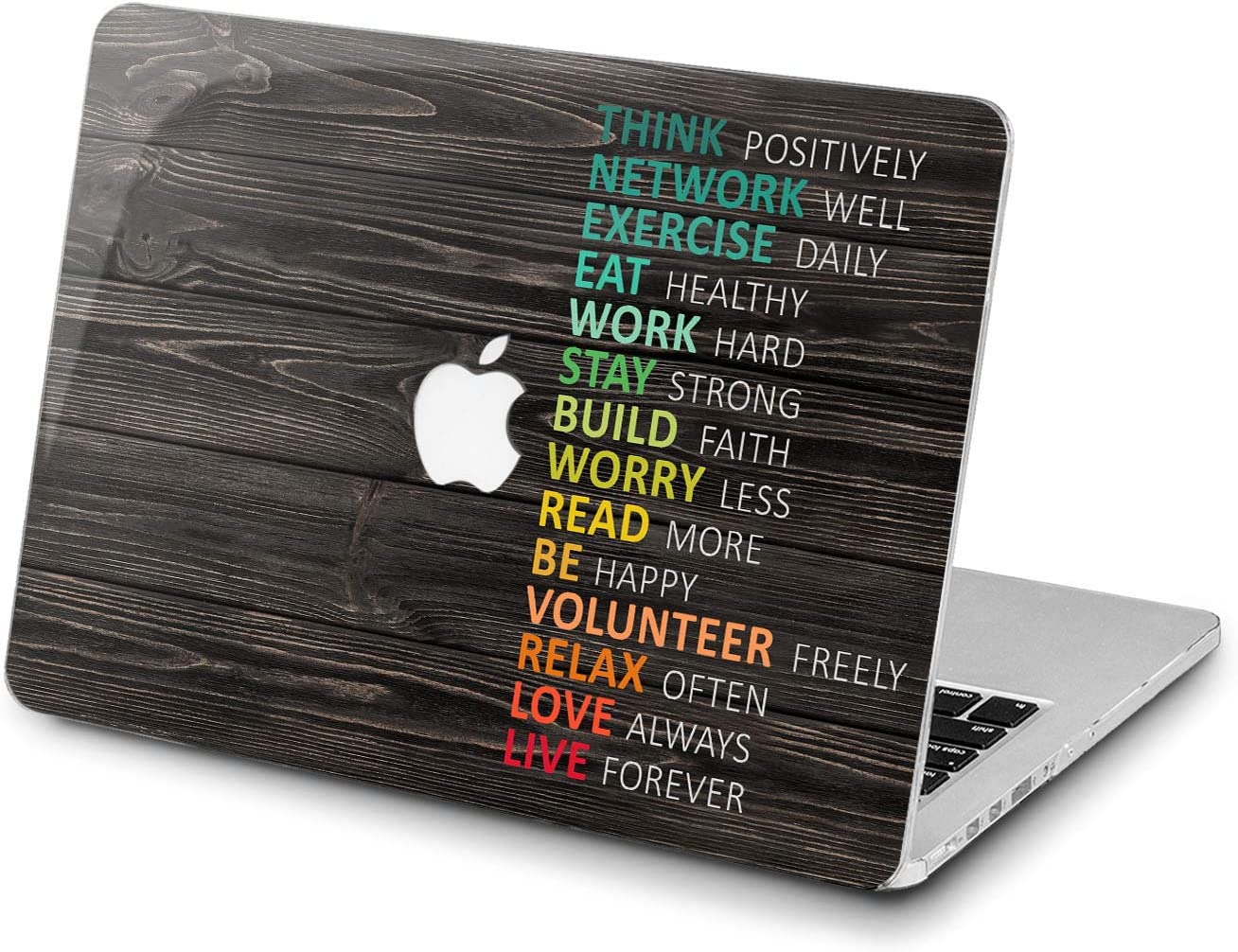 Lex Altern Hard Case Compatible with MacBook Air 13 Mac Pro 15 inch Retina 12 11 2020 2019 2018 2017 Texture Print Quote Design Plastic Touch Bar Laptop Colorful Inspirational Wooden Cover Saying