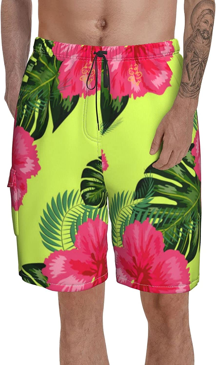 Quick Dry Swimming Trunks Men Swim Shorts Tropical Hawaii Leaves in A Elastic Waist Board Short for Summer