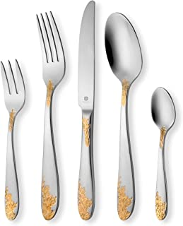 DANIALLI 20-Piece 24K Gold Plated Flatware Set For 4, Modern Imperial Design Silverware Set, 18 10 Stainless Steel Utensils Set of Golden Cutlery, Include Knife/Fork/Spoon, Dishwasher Safe