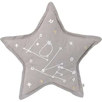 "ED Ellen DeGeneres Starry Night - Soft 100% Cotton Grey with White, Gold""Love"" Embroidery Decorative Star Shaped Pillow, Grey, White, Gold"