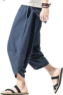 Sponsored Ad - PRIJOUHE Men`s Harem Capri Pants, Wide Leg Mens Capris, Summer Linen Pants