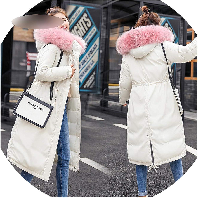 Elastic Hooded Winter Down Coat Jacket Long Warm Women Parkas Outwear 906