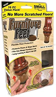16 Small Original Furniture Feet Floor Protector Pads by chéri d'amour–Universal Stool Table Leg Cap for Wood Stone & Marble Protection, Chair Leg Coaster Glides for Restaurant Kitchen Dining Bedroom