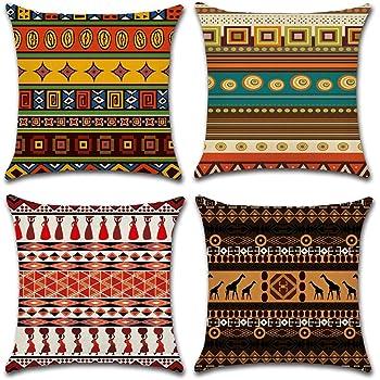 Gspirit 4 Pack Fundas Cojines 45x45 Cojines etnicos Algodón Lino Throw Pillow Case Cojines Decoracion: Amazon.es: Hogar