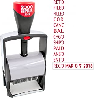 2000 Plus 2024 Heavy Duty Date Phrase Stamp, Large Date Size - Exclusive 12-Year Band - Red Ink