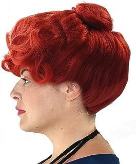 Mrs Stones Cave Halloween Costume Wig with an up Do Bun Auburn