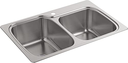 """new arrival Kohler 75791-1-NA K-75791-1-NA Verse outlet sale 33"""" x 22"""" x 9"""" top-/Under-Mount Large/Medium Double-Bowl Kitchen Sink with Single Faucet new arrival Hole online sale"""
