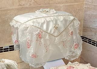Violet Linen Luxurious and Elegant Eden Lace Style Bathroom Tank Cover, Beige