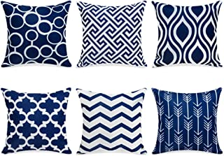 Best Top Finel 100% Durable Canvas Square Decorative Throw Pillows Cushion Covers Pillowcases for Sofa 1 Set of 6,18×18 Inch-Navy Review