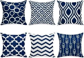Topfinel 6er Set Kissenbezüge 40x40 cm Qualitäts Kissenhüllen in Segeltuch mit Geometrischen Mustern für Sofa Auto Terrasse Zierkissenbezüge Serie Dunkelblau und Weiß