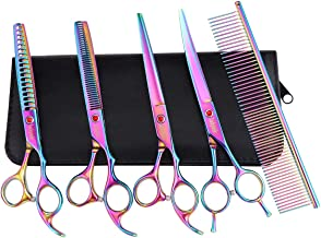 Dog Grooming Scissors Set-Japanese 440C Stainless Steel Pet Grooming Kit,7.5 Inch Thinning,Chunker,Straight,Curved Shears with Grooming Comb,Best Pet Grooming Shears for dog cat and more pets