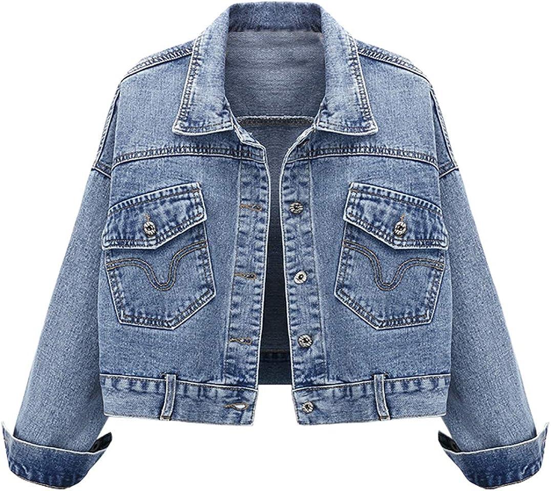 chouyatou Women's Spring Casual Button Front Cropped Denim Jean Jacket