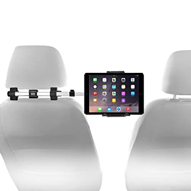 """Macally Car Headrest Mount Holder for Apple iPad Pro / Air / Mini, Tablets, Nintendo Switch, iPhone, & Smartphones 4.5"""" to 10"""" Wide with Dual Adjustable Positions and 360° Rotation (HRMOUNTPRO),Silver"""