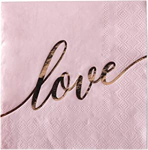 Andaz Press Pink with Rose Gold Scripted Love Saying Cocktail Napkins, Bulk 100-Pack Count 3-Ply Disposable Fun Beverage Napkins for Wedding, Bridal Shower, Bachelorette, Baby Shower, Valentine's Day