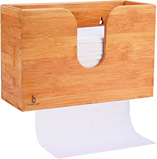 Bamboo Paper Towel Dispenser, Paper Towel Holder for Kitchen Bathroom Toilet of Home and Commercial, Wall Mount or Countertop for Multifold, C Fold, Z fold, Trifold Hand Towels (Natural Bamboo)