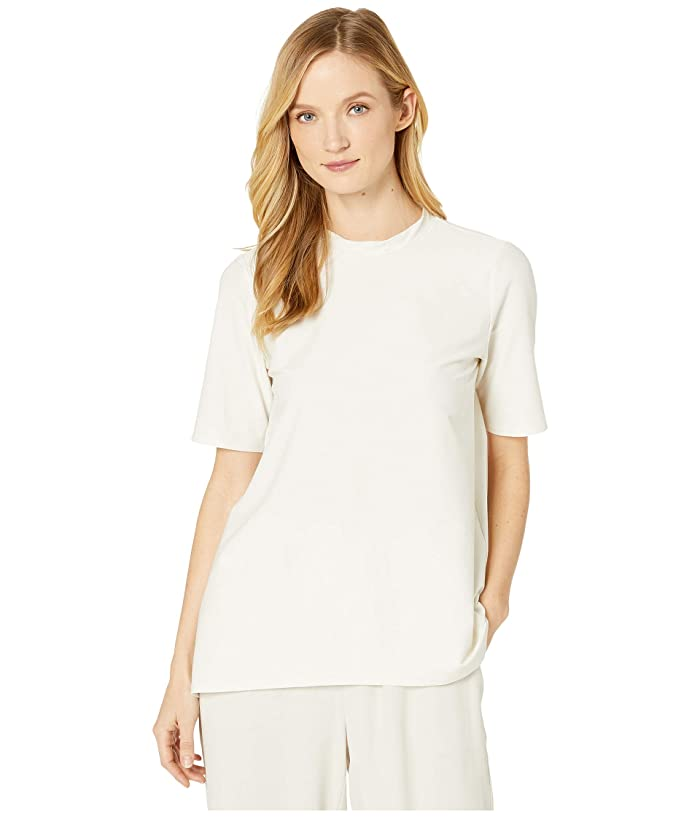 Eileen Fisher  Lightweight Washable Stretch Crepe Mock Neck Short Sleeve Top (Bone) Womens Clothing