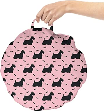 Ambesonne Scottie Dog Round Floor Cushion with Handle, Hairy and Fluffy Adult Terrier and Bones on Pink Background, Decorativ